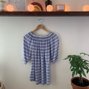 Striped Off-shoulder Blue/White mini dress